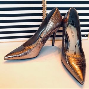 Sam & Libby Metallic Snake Print Pointed Toe Heels